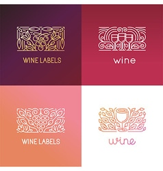 Set of logo design elements and signs for wine vector