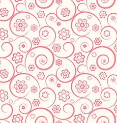 Pink seamless pattern flowers and swirls vector