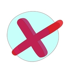 Red check mark cross icon cartoon style vector