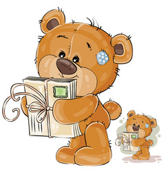 A brown teddy bear holding vector