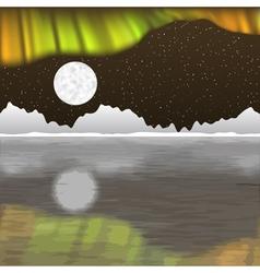 Arctic pole landscape with aurora borealis vector