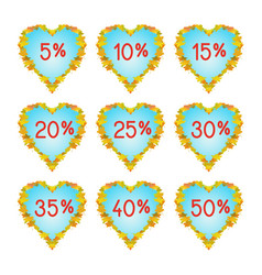 autumn hearts discount elements vector image vector image