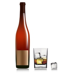 bottle and glass with whiskey vector image vector image