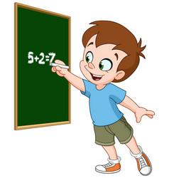 boy writing on blackboard vector image