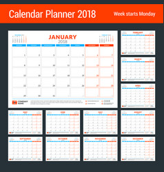 calendar planner for 2018 year design print vector image