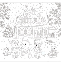 Children making a snowman vector image vector image