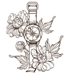 contour image of wrist compass and peonies vector image