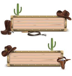 Cowboy signboards vector
