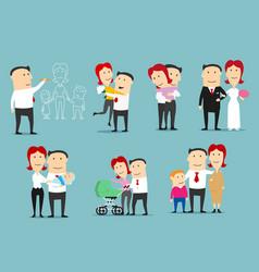 family life cycle cartoon character set design vector image vector image