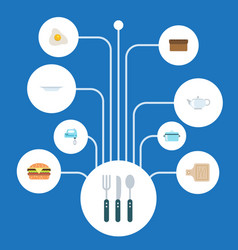 Flat icons omelette silverware dish and other vector