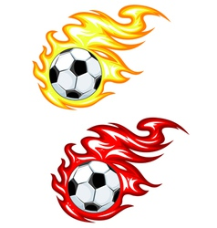 footballs with flames vector image vector image