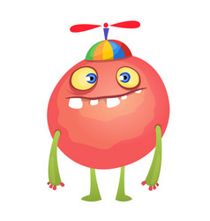 Funny cartoon red monster vector