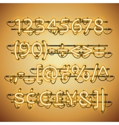 Glowing neon golden numbers vector