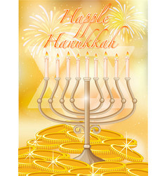 happy hanukkah with candles and gold vector image vector image