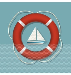 Lifebuoy and paper sailboat vector image vector image