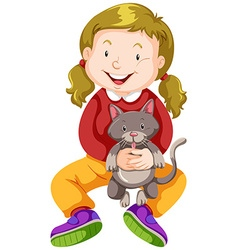 Little girl hugging pet cat vector image