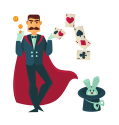 magician in red cloak with rabbit in tall hat vector image