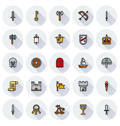 medieval icon set of colour simple icons vector image