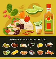 Mexican food icons collection vector
