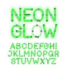 neon glow alphabet on white background vector image vector image
