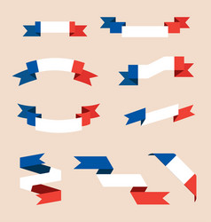 ribbons or banners in colors of french flag vector image