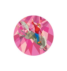 Rodeo cowboy riding bucking bronco low polygon vector