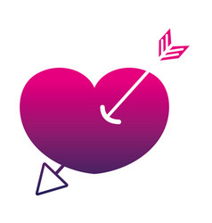 silhouette arrow design inside heart love icon vector image vector image