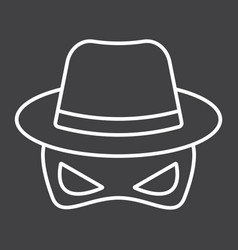Spy line icon incognito and agent vector
