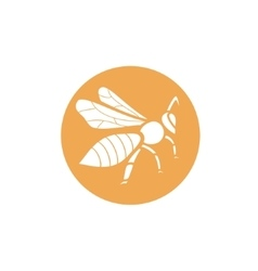 Stylized silhouette of a bee on orange background vector