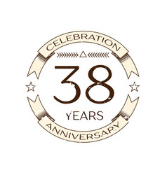 thirty eight years anniversary celebration logo vector image vector image