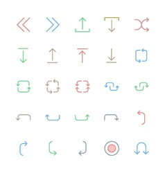User interface colored line icons 24 vector
