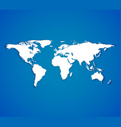 White world map with smooth shadows on blue vector image