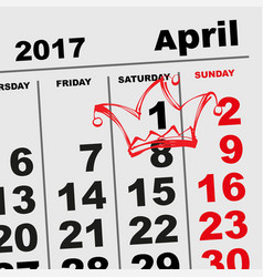 1 april fools day calendar reminder vector