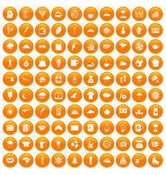 100 coffee cup icons set orange vector