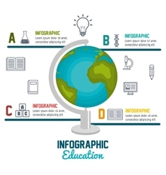 Infographic education globe graphic isolated vector