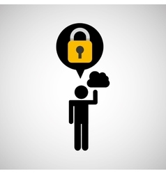Security internet cloud silhouette man vector