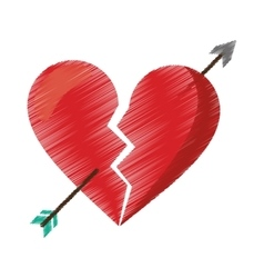 Drawing red heart broken sad separation vector