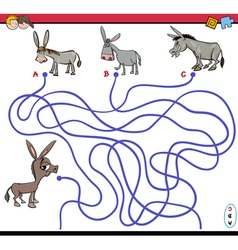 Path maze game with donkey vector
