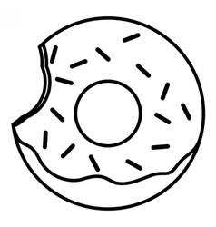 Bitten glazed ring donut with sprinkles vector