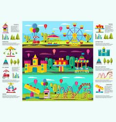 Colorful amusement park infographic banners vector