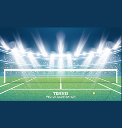 Tennis court with green grass and spotlights vector