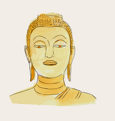 Thai culture concept with buddha hand drawb vector
