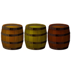 Three wooden barrels vector