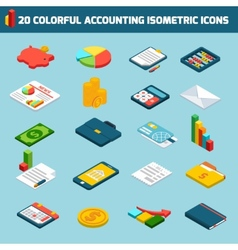 Accounting icons set isometric vector