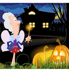 Fairy godmother near the house vector