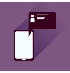Flat icon with long shadow mobile phone message vector image