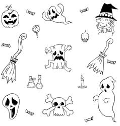 Halloween characters and element doodle set vector