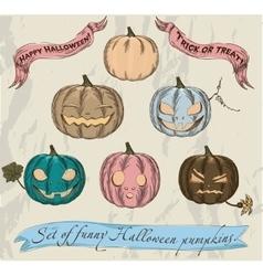 Six isolated halloween pumpkins set vector
