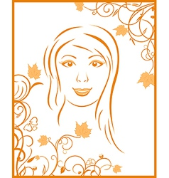 autumn girl portrait vector image