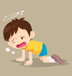 Boy kneel down have dizziness vector